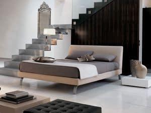 Key, Betten mit Holzrahmen, gepolstert, Metallfüße