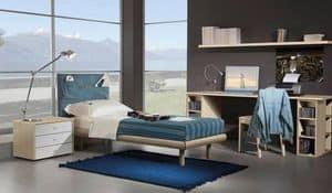 Kinder Schlafzimmer 15, Vollständig möbliert Zimmer für Kinder, Einzelbett, Kopfteil in Jeans mit Taschen