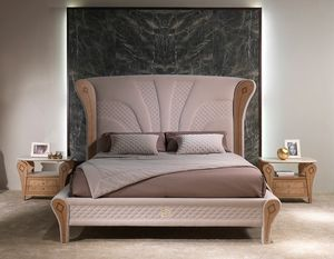 LE28 Charme Bett, Luxuriöses Bett mit eingelegten Holzdekorationen