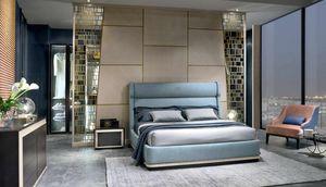 LE29 Galileo Bett, Bett mit gepolsterter Struktur und Kopfteil