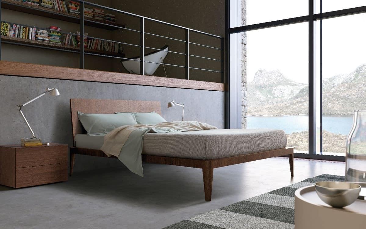 Spillo bed, Die Holzbetten mit schlanken Linien, für Hotels und Schlafzimmer