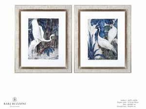 Art and Nature, white herons I - Art and Nature, white herons II - AQ33 - AQ34, Aquarellbilder mit Reihern