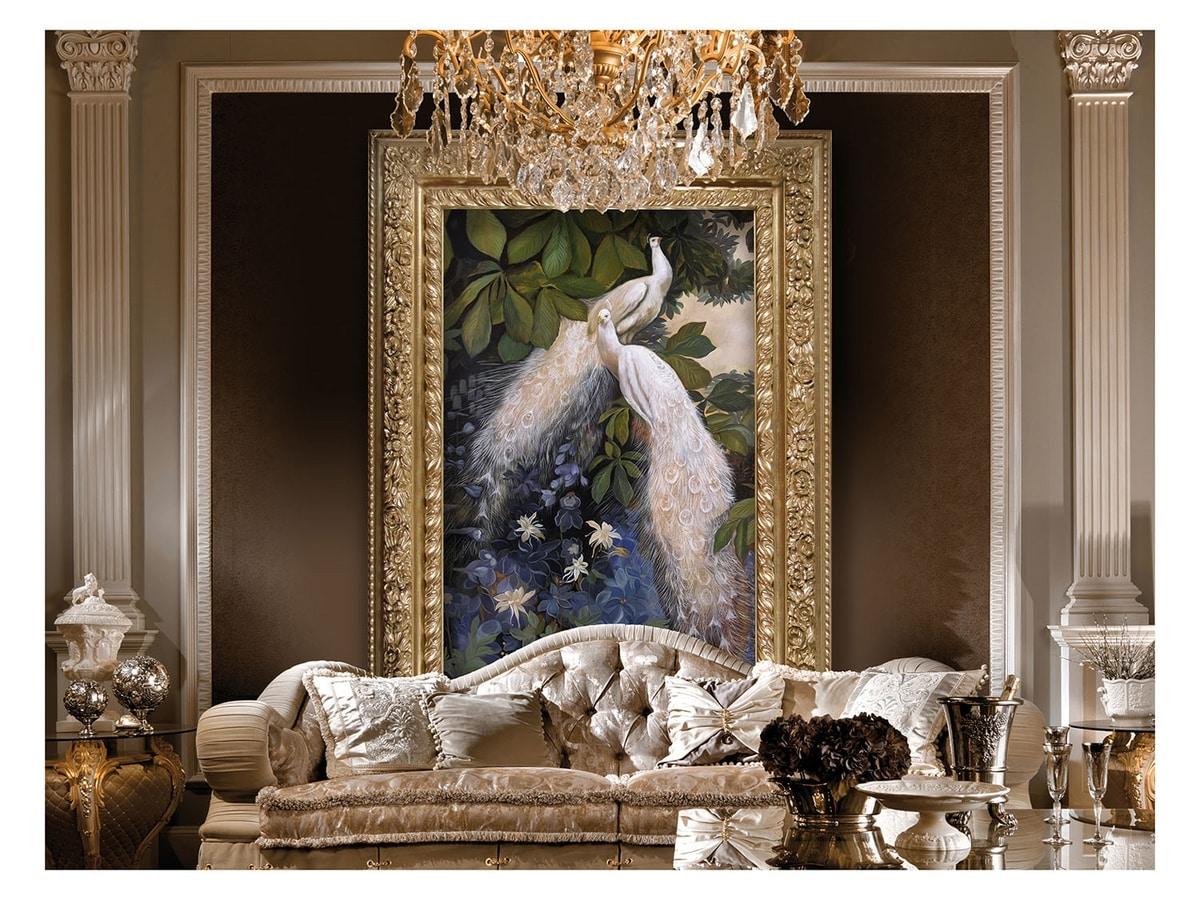 Peacocks, couple in the fairy garden – H 2872, Großes Gemälde mit Pfauen