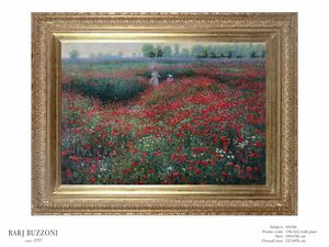Promenade in the poppies field – H 1026, Ölgemälde mit Mohnblumen