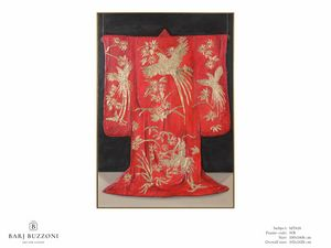 Red Kimono, the tradition of Kyoto - MT618, Grafik mit Blattgolddekorationen