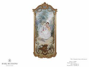 Romantic frame with dancers – H 3596, Klassisches Ölgemälde auf Leinwand