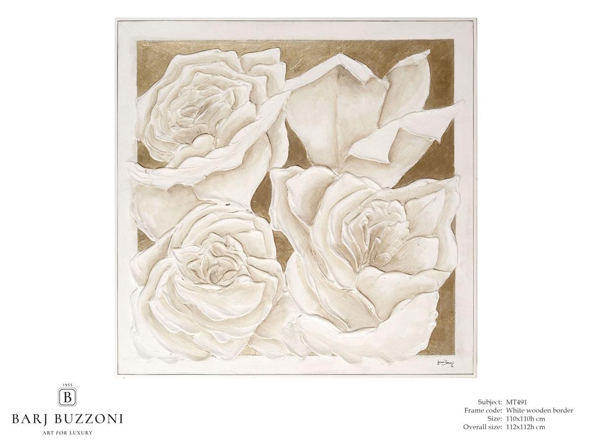 Roses, golden dream – MT 491, Bild mit Rosen, Basrelief-Effekt
