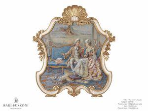 The poet's charm – H 3740, Klassische Malerei mit geschnitztem Rahmen
