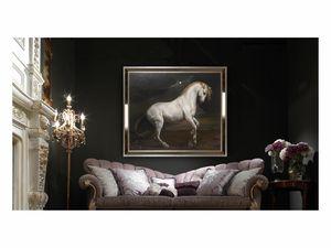 White horse – H 3698, Ölgemälde mit elegantem weißem Pferd