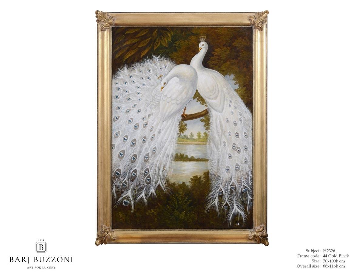 White peacocks dreaming – H 2326, Ölgemälde mit weißen Pfauen