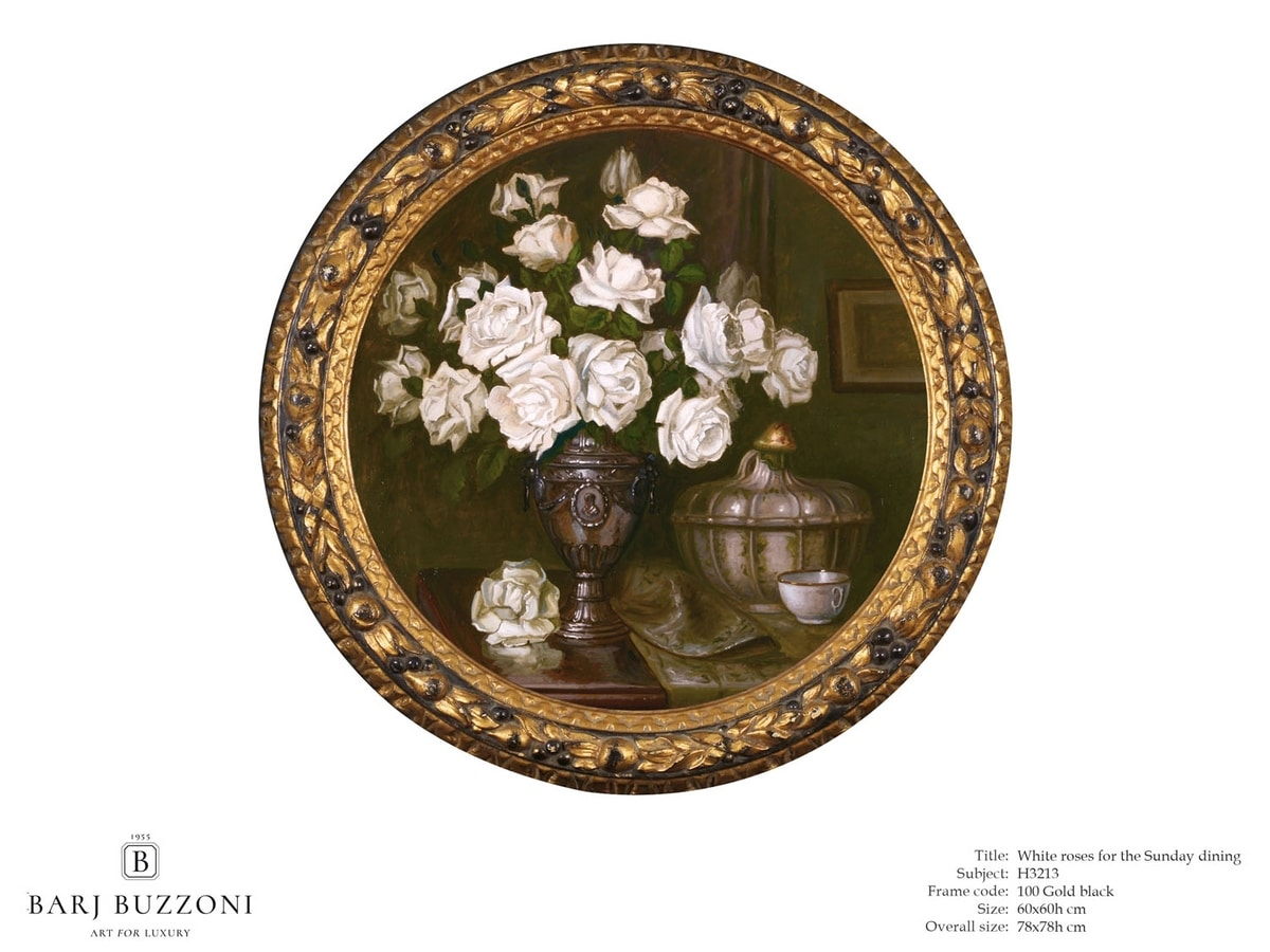 White roses for the Sunday dining – H 3213, Rundes Bild mit weißen Rosen