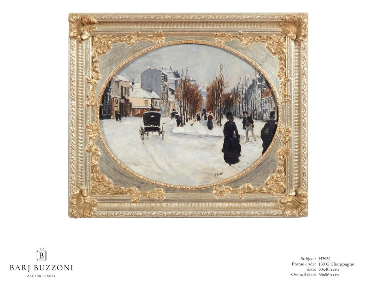 Winter's day – H 3951, Ölgemälde mit dekorativem Rahmen