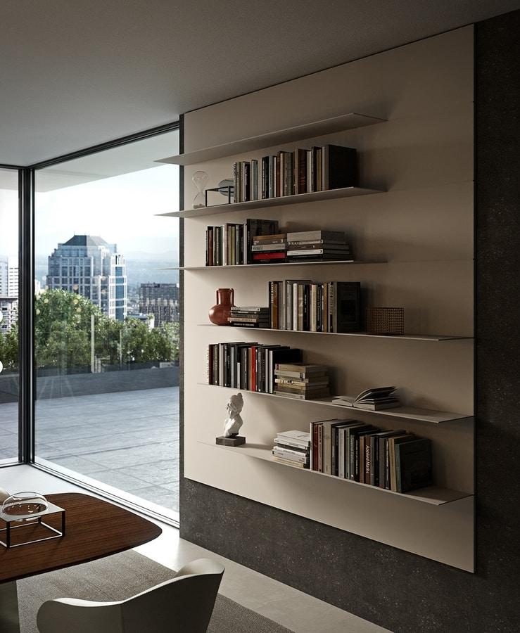 ALL comp.01, Wand-Bücherregal mit Aluminium-Regalen