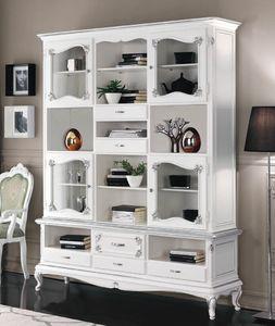 Art. 3226, Weiß lackiertes Bücherregal im Art-Deco-Stil
