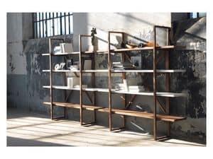 Assioma, Bücherregal aus Massivholz, für Wohnräume