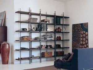 Be Bop, Bücherregal aus Holz und Metall für Wohnzwecke geeignet