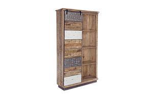 Bücherregal 1A-4P Tudor L, Rustikales Bücherregal mit Schiebetür