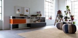 Citylife 08, Moderne Bibliothek für Wohnbereich, mit Türen und Klappen