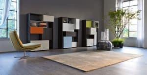 Citylife 25-26-27, Moderne Bibliothek für Wohnbereich, modulare Zusammensetzung