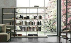 Comp. A102, Bücherregal mit Metallstruktur und Holzregalen