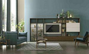 Comp. A117, Bücherregal mit drehbarem TV-Ständer