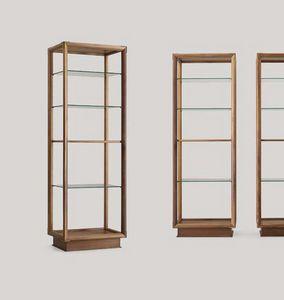 Didier Säulenbücherregal, Doppelseitiges Bücherregal mit Glasregalen