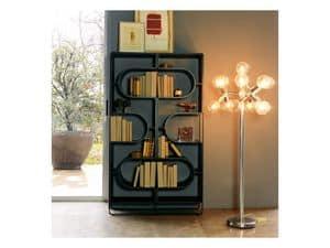 DNA, Bücherregal aus schwarz lackiertem Stahl