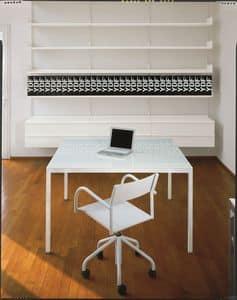 Elle System Office, Lackiertes Bücherregal aus Metall, modular, für Bibliotheken und Büros