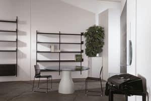Elle System Shopfitting, Modulares Bücherregal, aus lackiertem Metall, geeignet für Apotheken und Läden