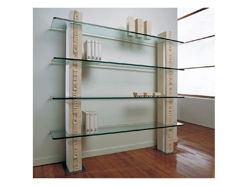 Etnica Bookcase, Weißen Stein Bücherregal, mit Glasböden