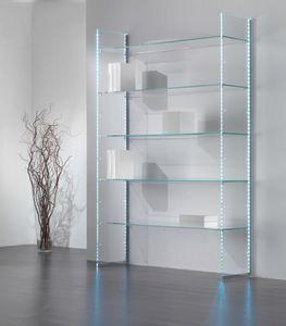 Glassystem COM/GS20, Bücherregal aus Glas mit LED-Lichtstreifen