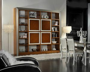 Granato, Bücherregal aus Holz mit zentralen Türen