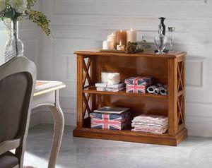 Inglese niedriges Bücherregal, Niedriges Bücherregal aus Holz