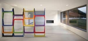 Iride, Bibliothek mit MDF-Struktur, Glasböden