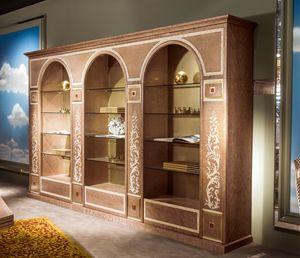 LB35 3 Archi Bücherregal, Bücherregal mit drei Bögen, mit Intarsien