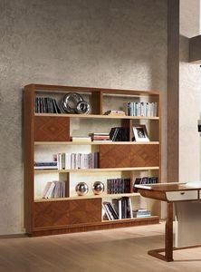 LB39 Desyo Bücherregal, Bücherregal in Intarsien Nussbaum und Eiche, der für klassische Wohnräume