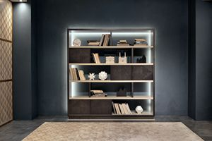 LB47 Desyo Bücherregal, Bücherregal mit Holzregalen