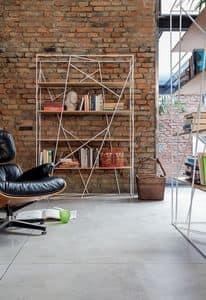 NAVIGLIO, Bücherregal aus lackiertem Stab und Glas, für moderne Büro