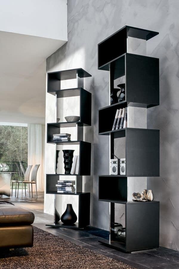 OSUNA, Drehbare Bücherregal aus lackiertem Holz, Spiegelglanz