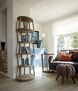 Raven ovales Bücherregal, Modernes Bücherregal aus Holz, mit ovaler Basis