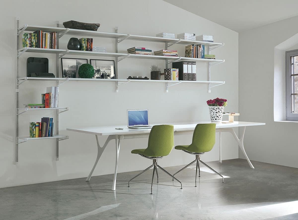 Socrate home-office, Bücherregal aus Metall und Glas, verschiedenen Ausführungen