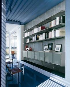 Socrate wall, Modulares Wandregal, Glasböden, für Büro und zu Hause