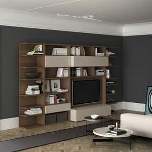 Spazioteca SP011, Moderne Bücherregal aus Holz mit TV Raum