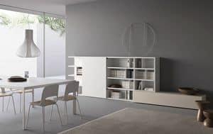 Spazioteca SP016, Modulares Bücherregal mit Regalen und Boxcontainer