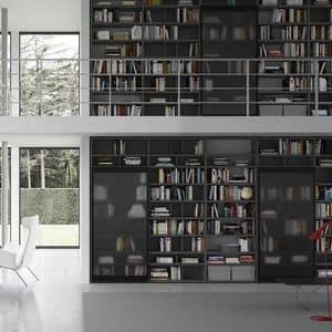 Spazioteca SP018, Modulares Bücherregal, in einem modernen Stil, für das Büro