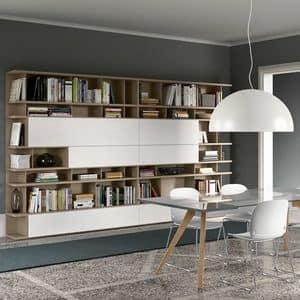 Spazioteca SP020, Modernes modulares Bücherregal aus Holz, anpassbare