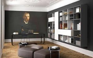 Spazioteca SP022, Holzwand Bücherregal, für Hotelzimmer