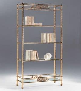 VIVALDI 1082, Messing Bücherregal mit Glasböden, für Wohnräume