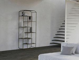 Yin, Bücherregal aus Eisen mit Holzregalen