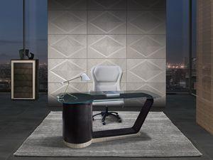 SC32 Century Schreibtisch, Eleganter Schreibtisch mit Glasplatte